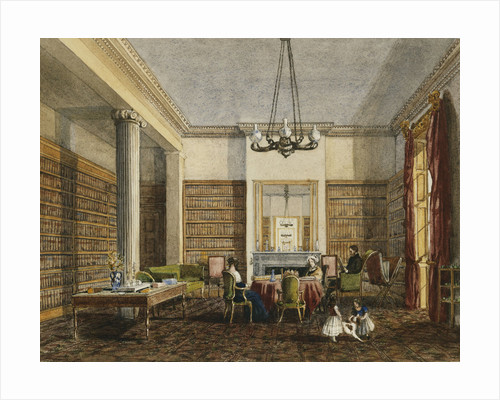The Library at Thirlestaine House, Cheltenham attributed to Miss Georgiana or Miss Harriet Rushout-Bowles by Corbis