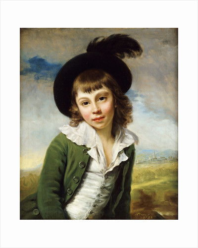 'The Green Boy': A Portrait of a Boy Half Length, in a Green Coat and Black Hat with a Feather Plume by Nathaniel Hone