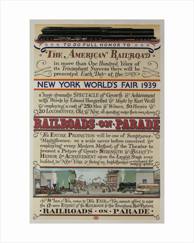 1939 New York World's Fair Poster, The World of Tomorrow, Railroads on Parade by Corbis