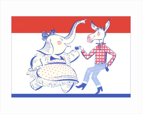 Elephant Dancing with Donkey Political Poster by Corbis
