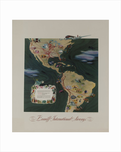 Braniff Airways Travel Poster, The Americas Route Map by Corbis