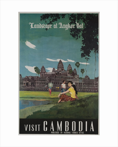 Landscape of Angkor Wat, Visit Cambodia 1950s Travel Poster by Corbis