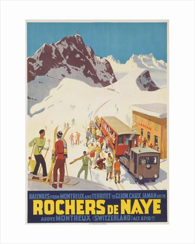 Rochers de Naye, Swiss Ski Travel Poster by Corbis