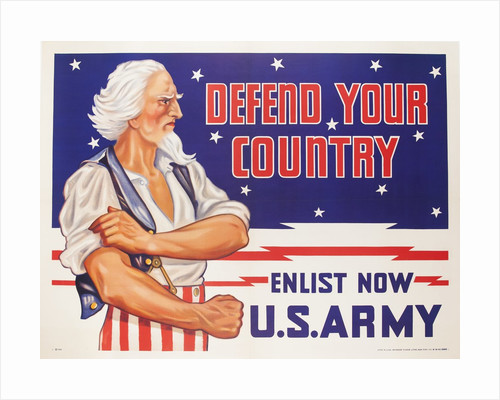Defend Your Country, Enlist Now US Army WWII Poster by Corbis