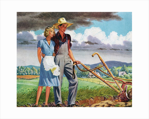 American Couple Standing with a Plow on their Rural Farm. by Corbis