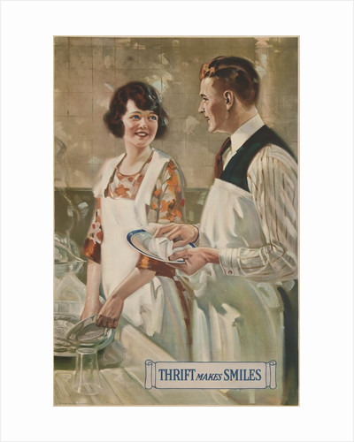 1920s American Banking Poster, Couple washing dishes by Corbis