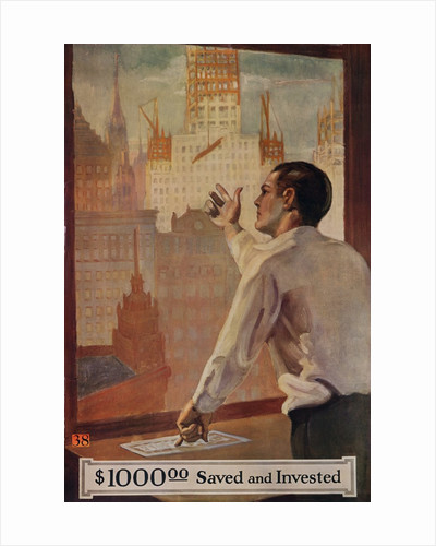 1920s American Banking Poster, $1000 Saved and Invested by Corbis