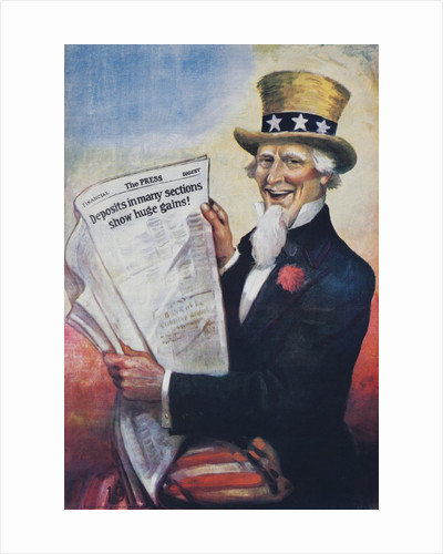 1920s American Banking Poster, Uncle Sam Deposits show huge gains. by Corbis