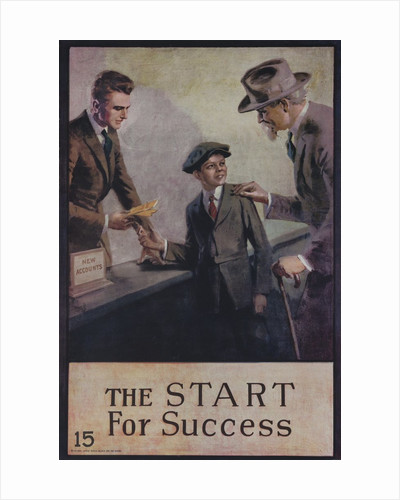 1920s American Banking Poster, The Start for Success by Corbis