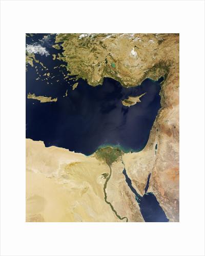 Satellite view of the Eastern Mediterranean Sea by Corbis