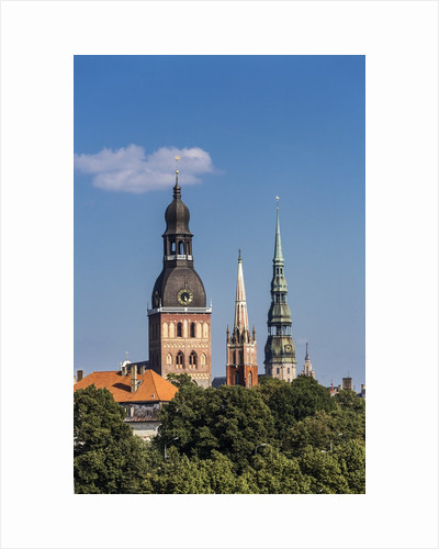 The bell-tower of Evangelical Lutheran cathedral, the bell-tower of St. Peter church and the bell-tower of St. Savior Anglican church by Corbis