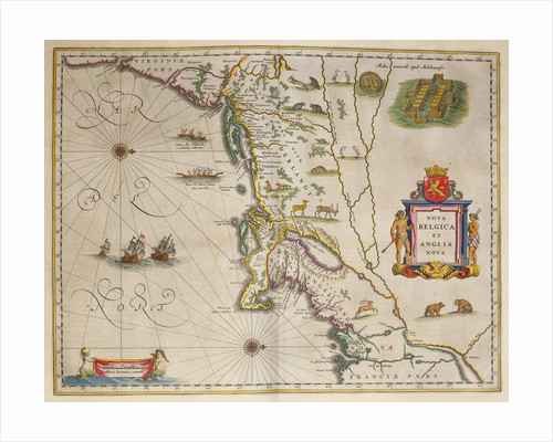 A 17th century map of New Netherland and New England by Joan Blaeu