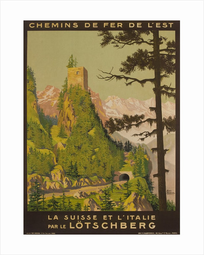 French Railway Travel Poster, Chemin de Fer de L'Est, Switzerland and Italy by Corbis
