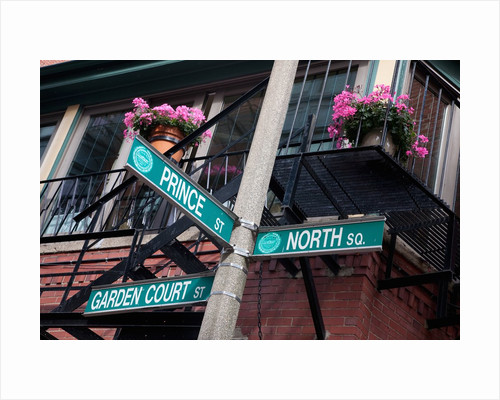 Street signs for intersection of Prince, North and Garden Court, historic North End, Boston, MA. by Corbis