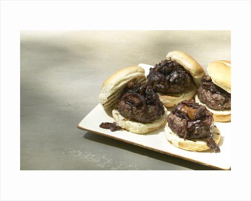 Bacon onion hamburger by Corbis