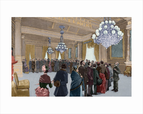 A public reception day by President Grover Cleveland (1837-1908) by Corbis
