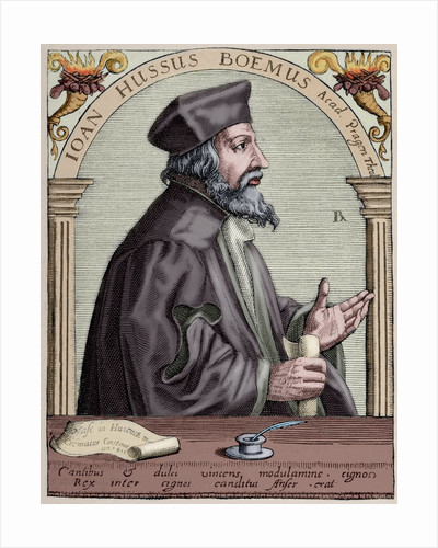 Jan Hus (1369-1415). Engraving. Colored. by Corbis