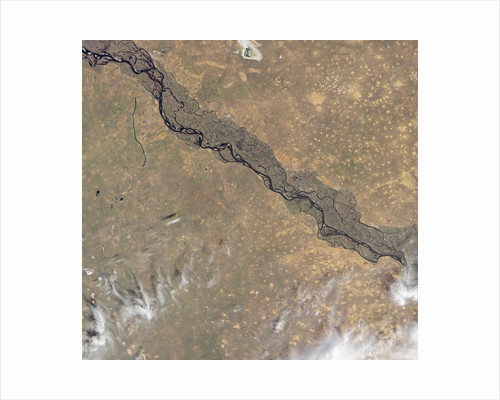 Satellite view of the Volga River in central Russia by Corbis