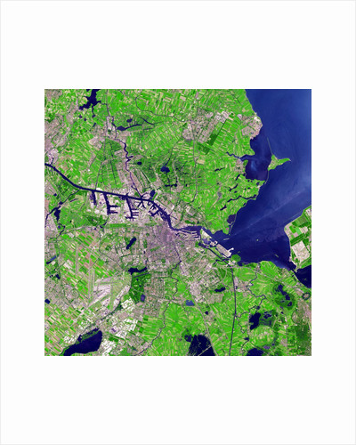 False color satellite image of Amsterdam by Corbis