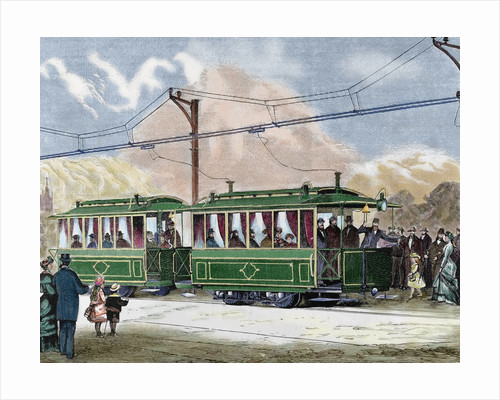 Electric streetcar. Nineteenth-century colored engraving. by Corbis