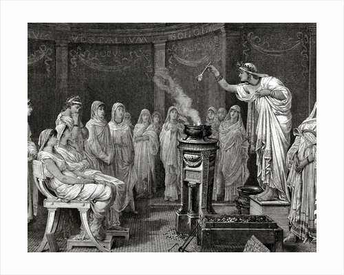 Priestess of the goddess Vesta making an offering. by Corbis