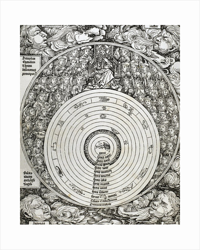 The universe with planets, zodiac signs and all the heavenly hierarchy. by Corbis