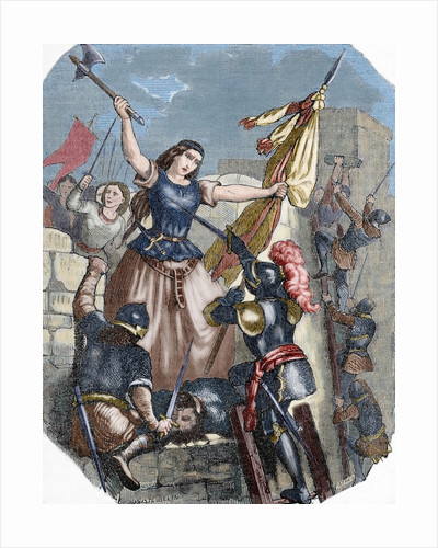 The french heroine Jeanne Hachette (b.1456) during the site of Beauvais. June 27, 1472. Engraving. C by Corbis