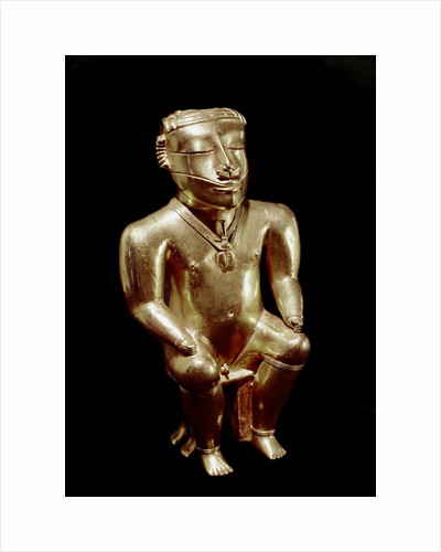 Quimbaya anthropomorphic figure of a seated man by Corbis
