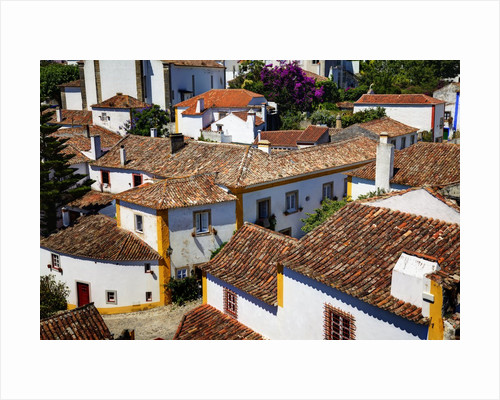 Elevated View of the town with the Red Roofs and special architecture of the town by Corbis