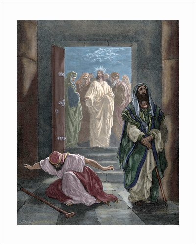 Parable of the Pharisee and the Publican. Engraving. Colored. by Corbis