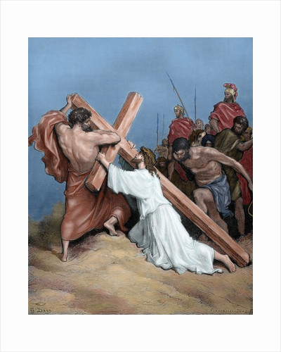 Jesus fall under the weight of the cross. Engraving. 19th century. Colored. by Corbis