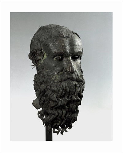 Ancient Greek bronze head of an old man with long beard (philosopher of Porticello) by Corbis
