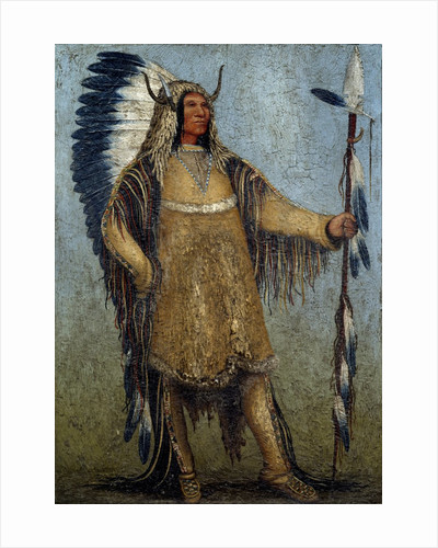 Full length portrait of a Native American chief by school of George Catlin by Corbis