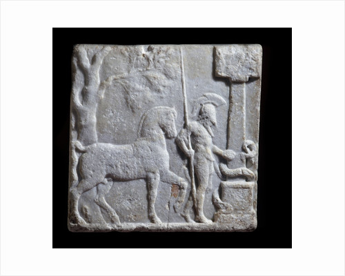 Ancient Greek marble stele with relief representing a rider and a horse by Corbis
