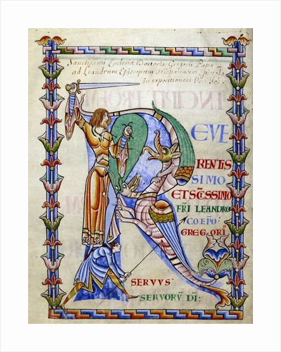 "Manuscript illumination of knight fighting dragon and illuminated ""R"" by Corbis"