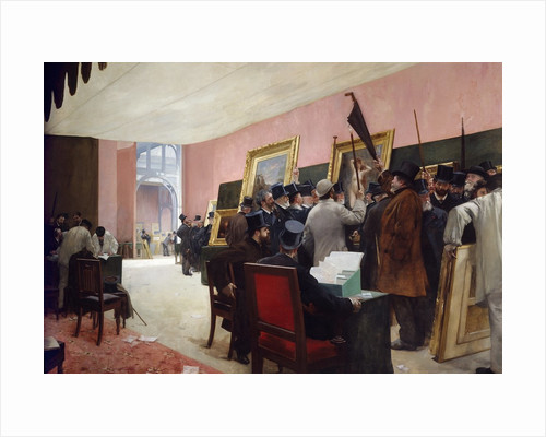A session of the painting jury at the Salon of French artists at the Palace of Industry by Henri Gervex