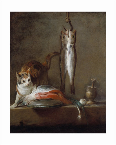 Cat with a slice of salmon, two mackerels, mortar and pestle by Jean Baptiste Simeon Chardin
