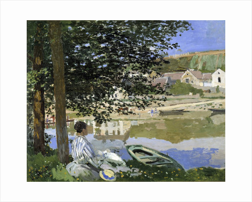 At the edge of the water in Bennecourt in 1868 by Claude Monet