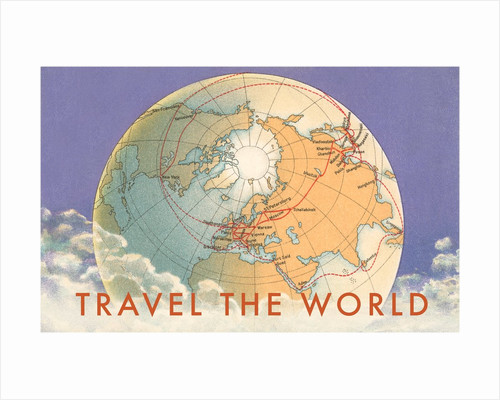 Travel the World, Globe with Routes by Corbis