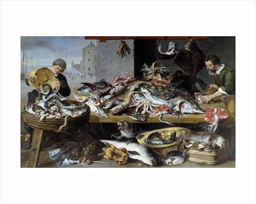 Fish merchants at their stalls by Frans Snyders