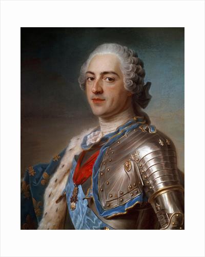 Portrait of Louis XV in armor by Quentin Delatour