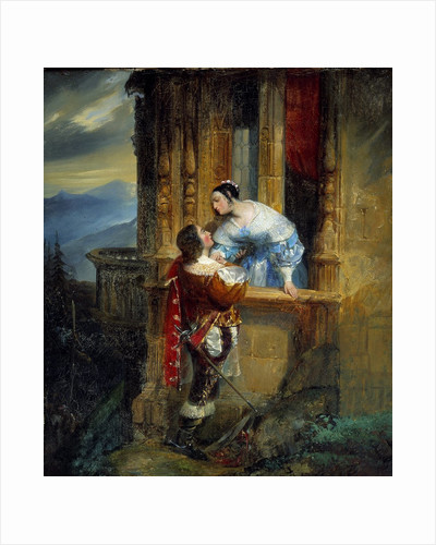 Young man courting a young lady, balcony scene by Corbis