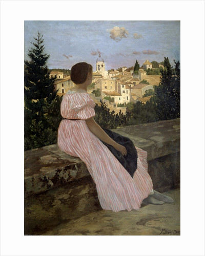 The pink dress or View of Castelnau-le-Lez by Jean Frederic Bazille