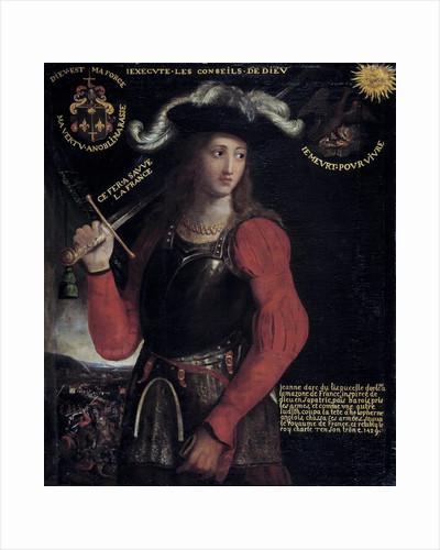 Portrait of Joan of Arc in war costume by Corbis
