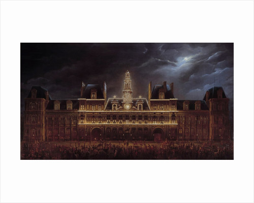 Illuminations at the Paris City Hall in honour of King's day by Auguste Jean Simon Roux