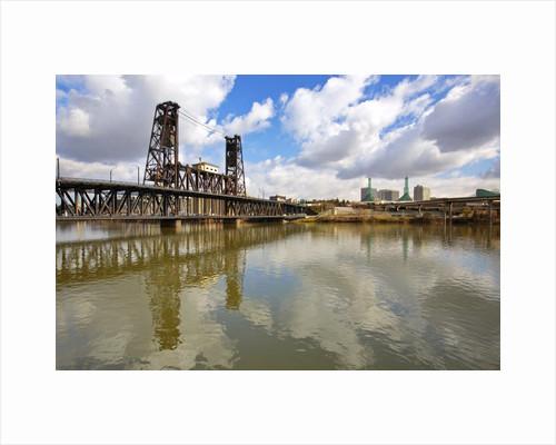 reflection in Willamette River and Steel Bridge, Portland Oregon by Corbis