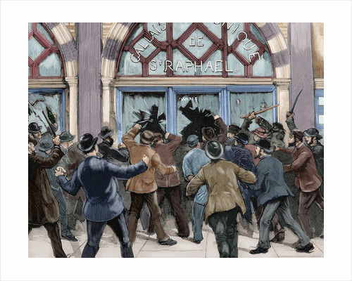 London. Picadilly. Socialist agitation. February 8, 1886. Engraving. Colored. by Corbis