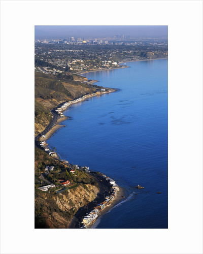 Aerial view of the Pacific Coast Highway and the Pacific Ocean in Malibu, California by Corbis