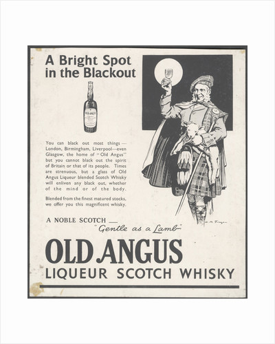 Old Angus Liqueur Scotch Whisky, 1920s. by Corbis