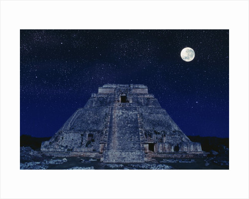 Pyramid of the Magician at Night by Corbis